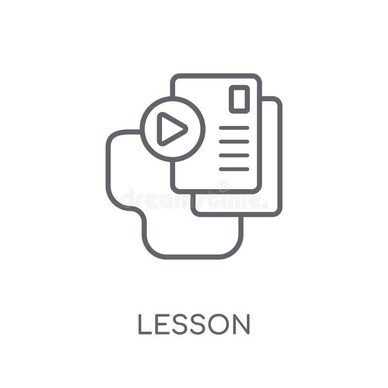 Icono linear de la lección Concepto moderno del logotipo de la lección del esquema en blanco stock de ilustración