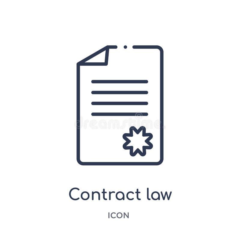Icono linear de la ley de contrato de la colección del esquema de la ley y de la justicia Línea fina icono de la ley de contrato  libre illustration