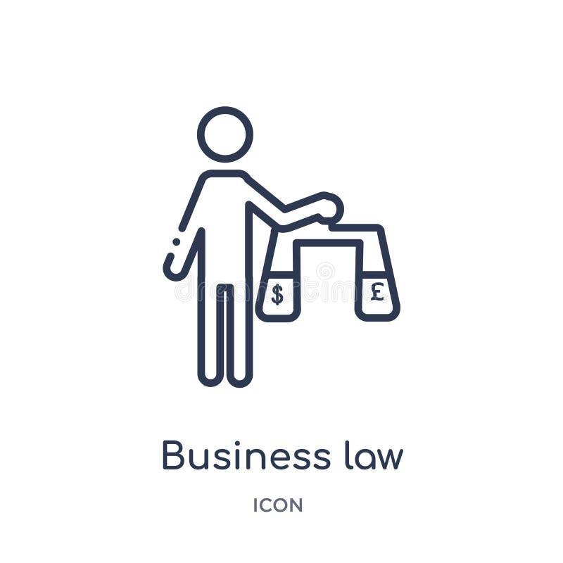 Icono linear de la ley de negocio de la colección del esquema de la ley y de la justicia Línea fina icono de la ley de negocio ai ilustración del vector