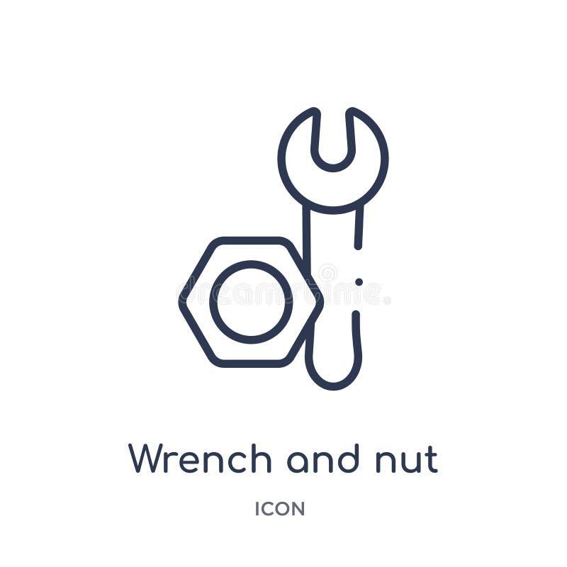 Icono linear de la llave y de la nuez de la colección del esquema de las herramientas de la construcción Línea fina llave y vecto libre illustration