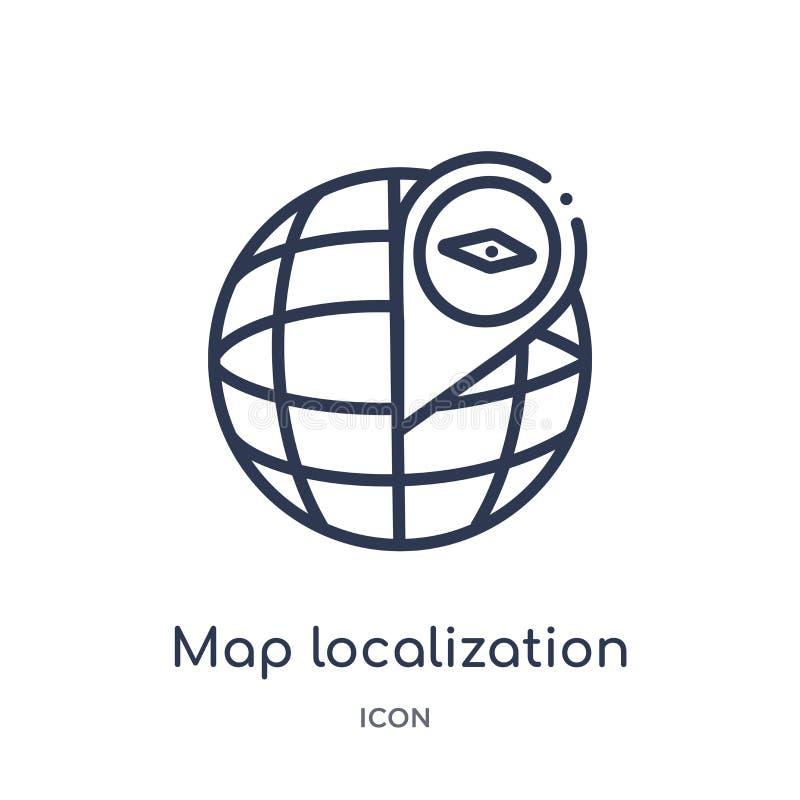 Icono linear de la localización del mapa colección del esquema de los mapas y de las banderas Línea fina icono de la localización libre illustration