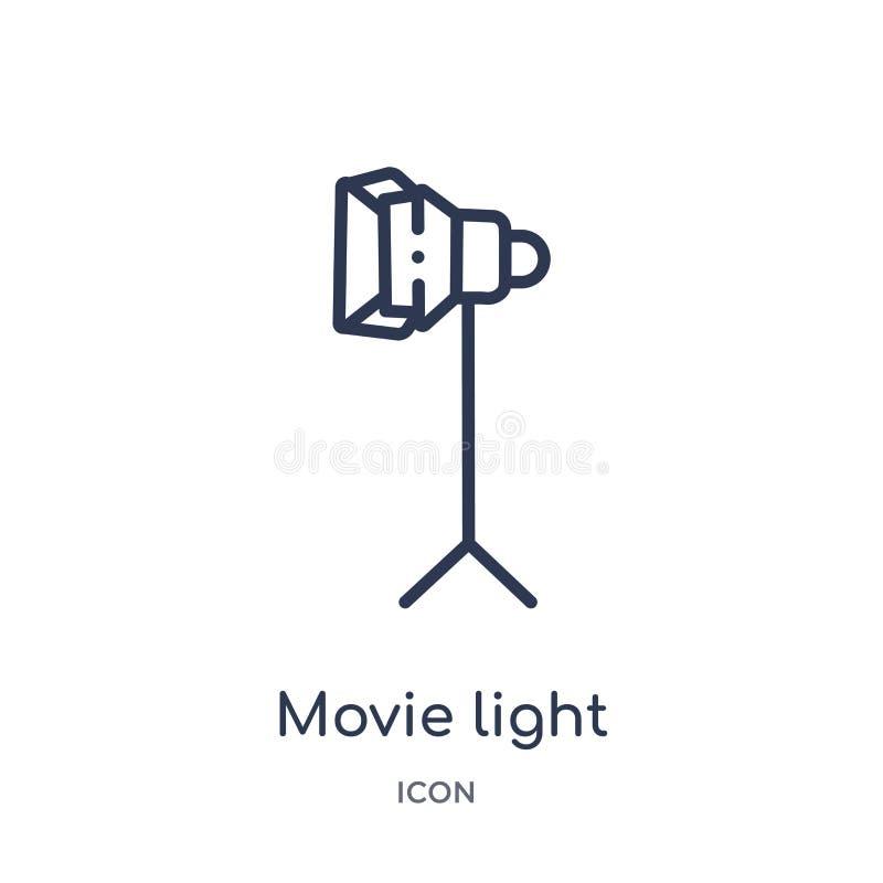 Icono linear de la luz de la película de la colección del esquema del cine Línea fina icono de la luz de la película aislado en e libre illustration