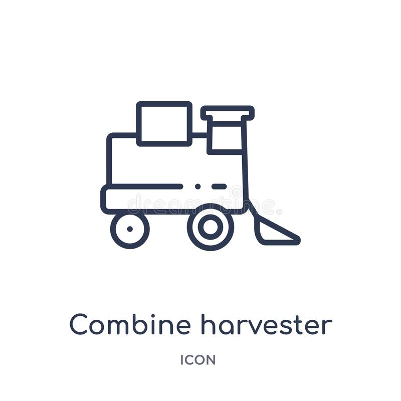 Icono linear de la máquina segadora de la colección agrícola y que cultiva un huerto de la agricultura del esquema Línea fina vec ilustración del vector