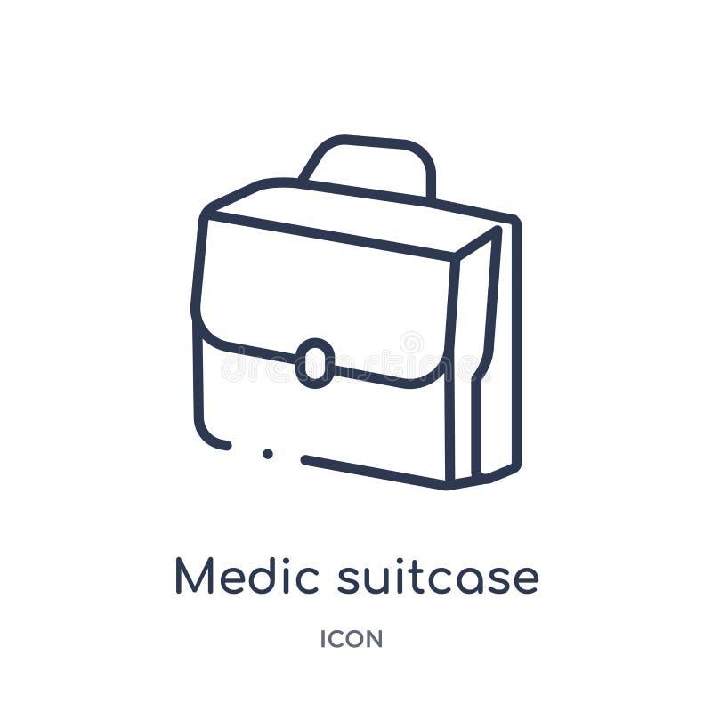 Icono linear de la maleta del médico de la colección médica del esquema Línea fina icono de la maleta del médico aislado en el fo stock de ilustración