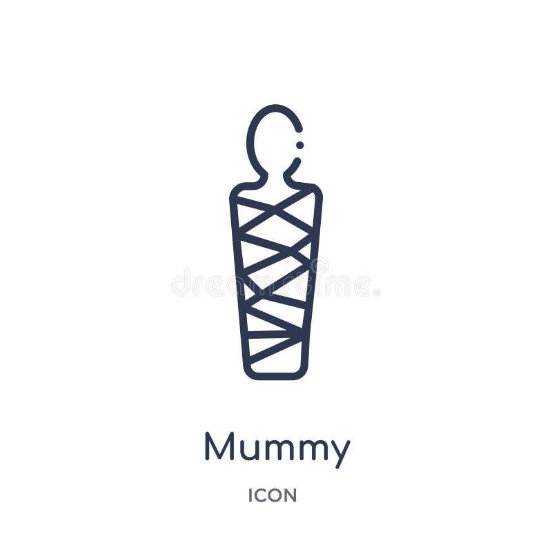 Icono linear de la momia de la colección del esquema de la historia Línea fina icono de la momia aislado en el fondo blanco ejemp libre illustration