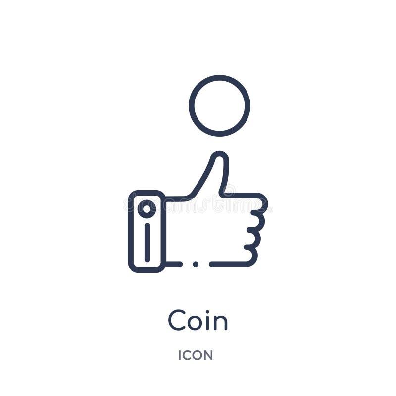 Icono linear de la moneda de la colección del esquema del fútbol Línea fina vector de la moneda aislado en el fondo blanco ejempl libre illustration