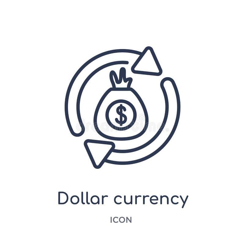 Icono linear de la moneda del dólar de la colección del esquema del negocio Línea fina icono de la moneda del dólar aislado en el stock de ilustración