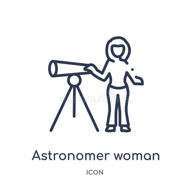 Icono linear de la mujer del astrónomo de la colección del esquema de las señoras Línea fina icono de la mujer del astrónomo aisl ilustración del vector