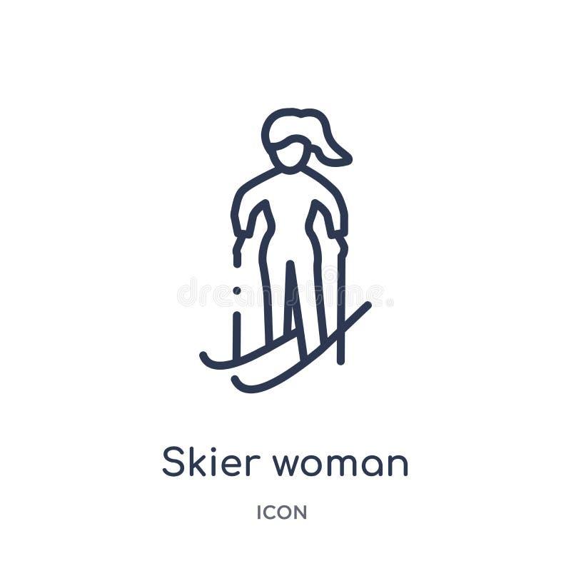 Icono linear de la mujer del esquiador de la colección del esquema de las señoras Línea fina icono de la mujer del esquiador aisl ilustración del vector