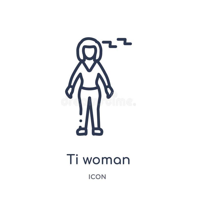 Icono linear de la mujer del ti de la colección del esquema de las señoras Línea fina icono de la mujer del ti aislado en el fond libre illustration