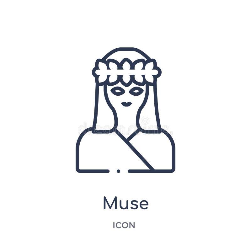 Icono linear de la musa de la colección del esquema de Grecia Línea fina icono de la musa aislado en el fondo blanco ejemplo de m libre illustration