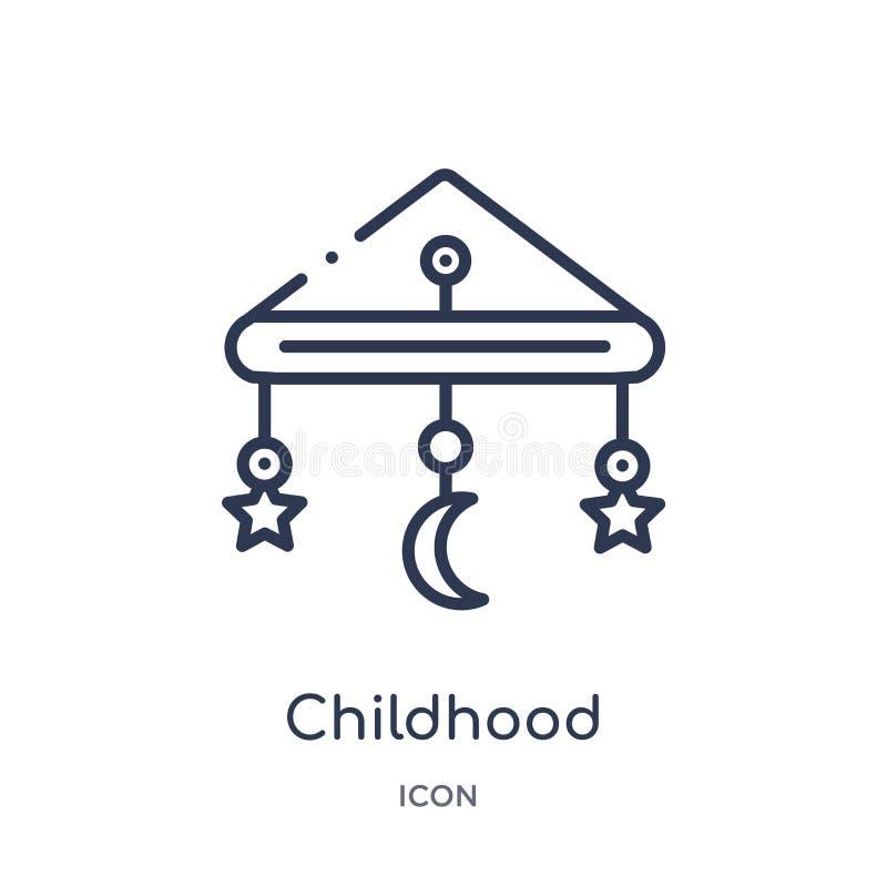 Icono linear de la niñez del entretenimiento y de la colección del esquema de la arcada Línea fina vector de la niñez aislado en  ilustración del vector