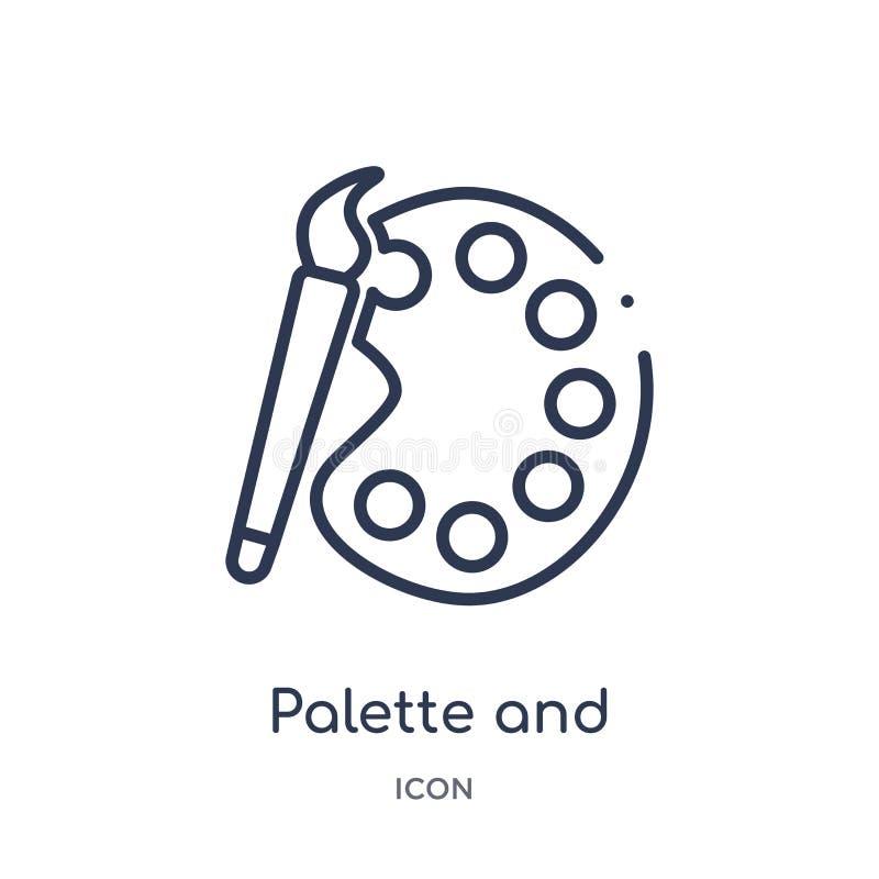 Icono linear de la paleta y de la brocha de la colección del esquema del arte Línea fina paleta e icono de la brocha aislado en b libre illustration