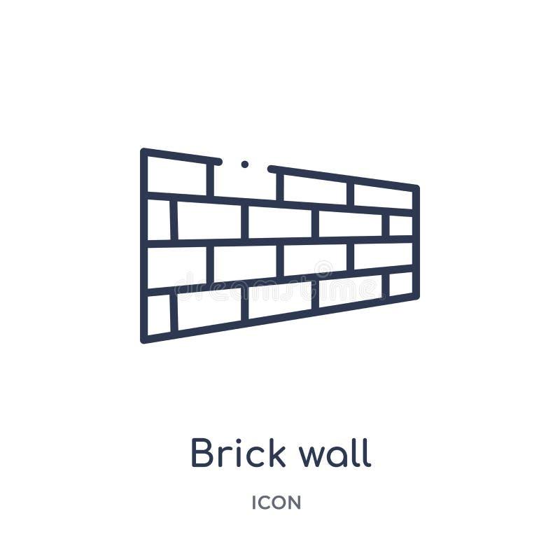 Icono linear de la pared de ladrillo de la colección del esquema de las herramientas de la construcción Línea fina vector de la p stock de ilustración