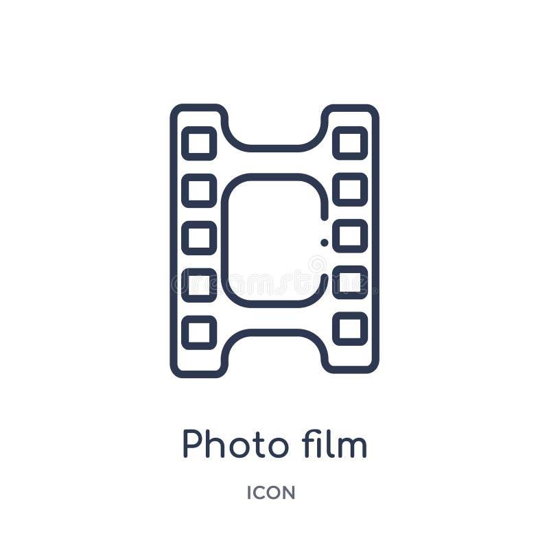 Icono linear de la película de la foto de la colección del esquema del arte Línea fina icono de la película de la foto aislado en ilustración del vector