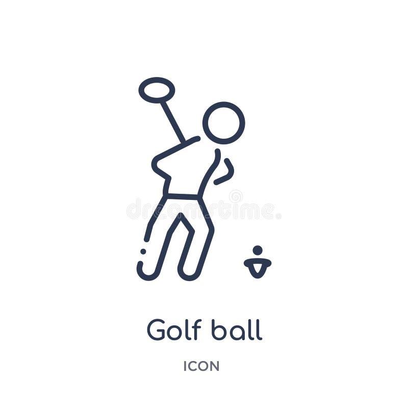 Icono linear de la pelota de golf de la actividad y de la colección del esquema de las aficiones Línea fina vector de la pelota d stock de ilustración