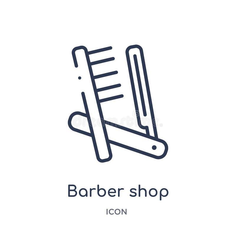 Icono linear de la peluquería de caballeros de la colección del esquema de la belleza Línea fina vector de la peluquería de cabal ilustración del vector