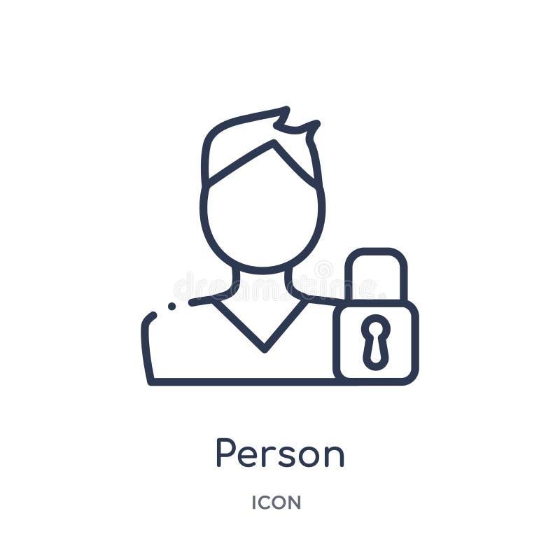 Icono linear de la persona de la colección del esquema de Gdpr Línea fina icono de la persona aislado en el fondo blanco ejemplo  stock de ilustración