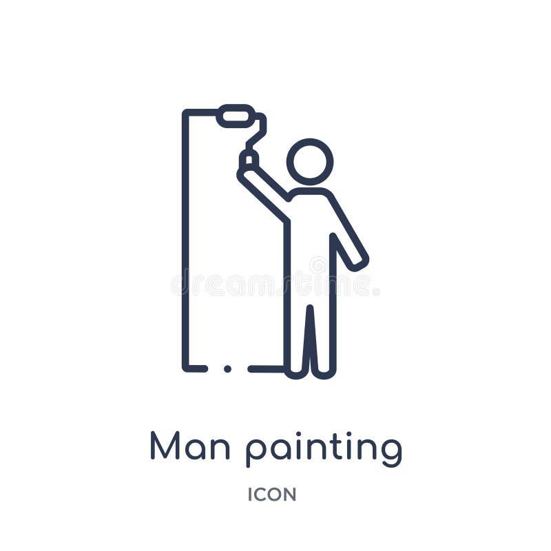 Icono linear de la pintura del hombre de la colección del esquema de la construcción Fino vector de la pintura del juez de línea  stock de ilustración