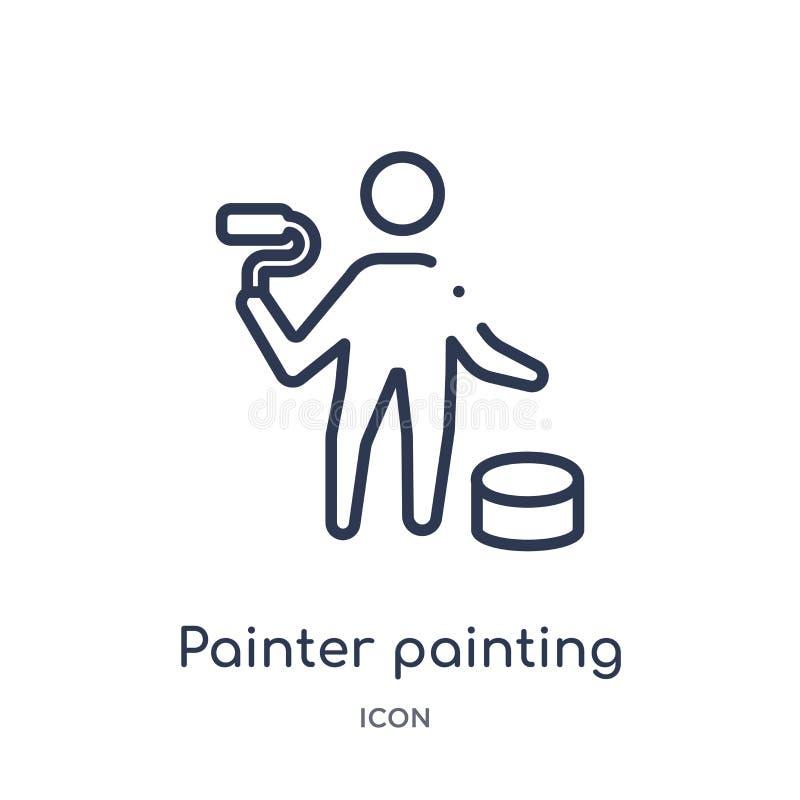 Icono linear de la pintura del pintor de la colección del esquema del arte Línea fina icono de la pintura del pintor aislado en e stock de ilustración