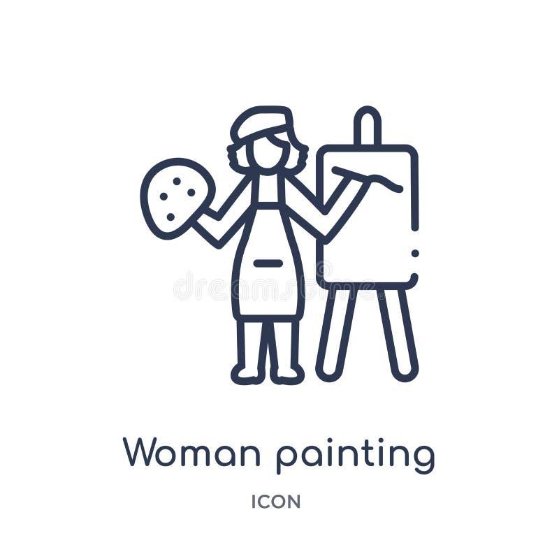 Icono linear de la pintura de la mujer de la colección del esquema de las señoras Línea fina icono de la pintura de la mujer aisl stock de ilustración