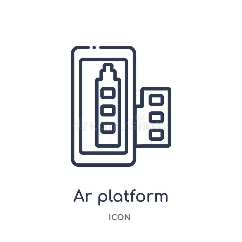 Icono linear de la plataforma de AR de la colección del esquema general Línea fina icono de la plataforma de AR aislado en el fon stock de ilustración