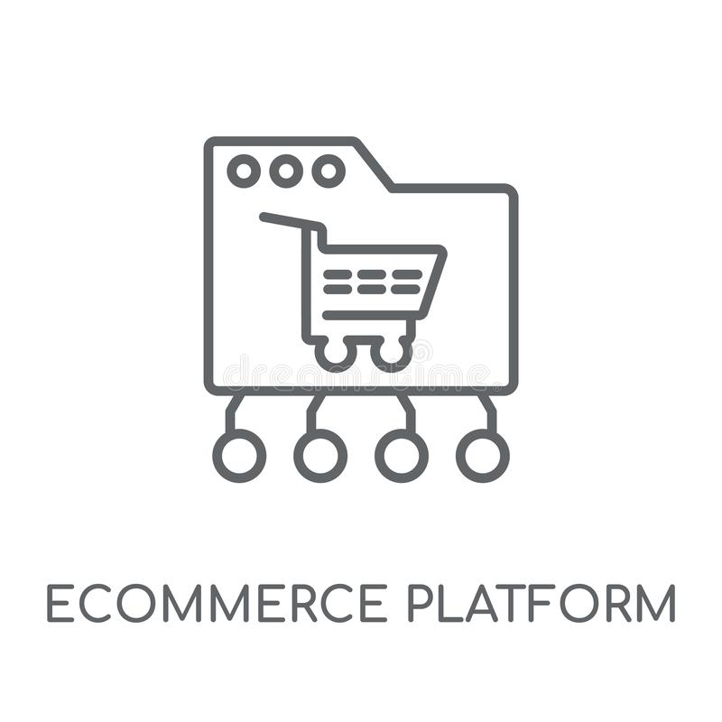 icono linear de la plataforma del comercio electrónico Platfor moderno del comercio electrónico del esquema stock de ilustración