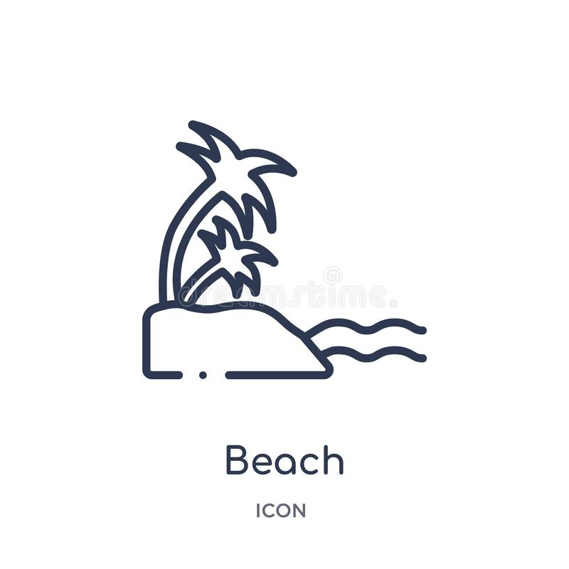 Icono linear de la playa de la colección del esquema del hotel Línea fina icono de la playa aislado en el fondo blanco ejemplo de libre illustration