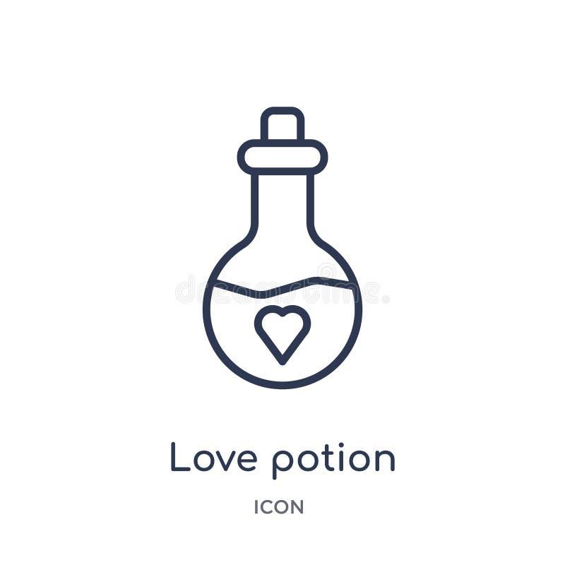 Icono linear de la poción de amor de la colección del esquema de la fiesta de cumpleaños Línea fina vector de la poción de amor a ilustración del vector