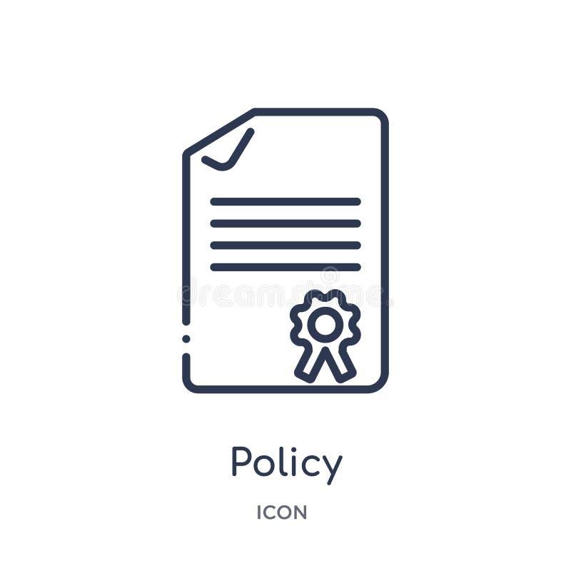 Icono linear de la política de la colección del esquema de la ley y de la justicia Línea fina icono de la política aislado en el  ilustración del vector