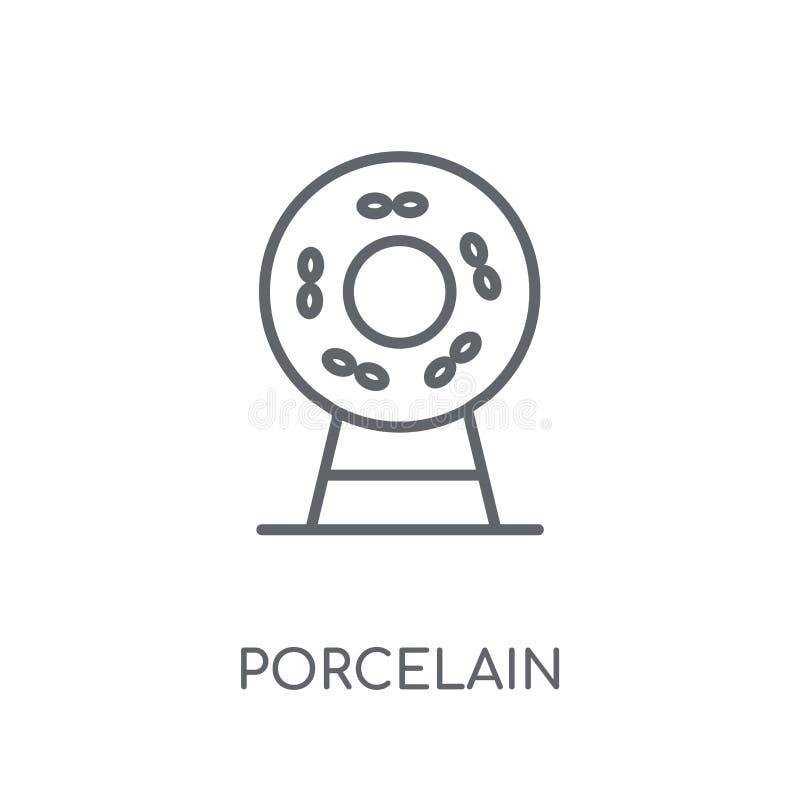 Icono linear de la porcelana Concepto moderno del logotipo de la porcelana del esquema encendido libre illustration