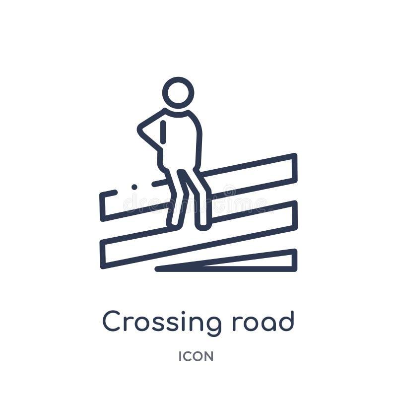 Icono linear de la precaución del camino que cruza colección del esquema de los mapas y de las banderas Línea fina icono de la pr ilustración del vector