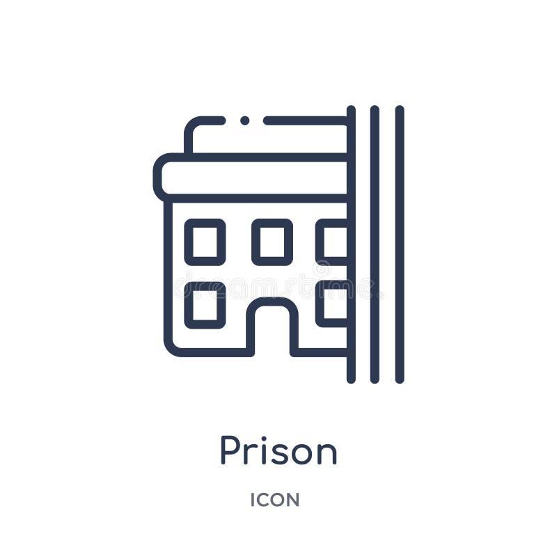 Icono linear de la prisión de la colección del esquema de los edificios Línea fina vector de la prisión aislado en el fondo blanc stock de ilustración