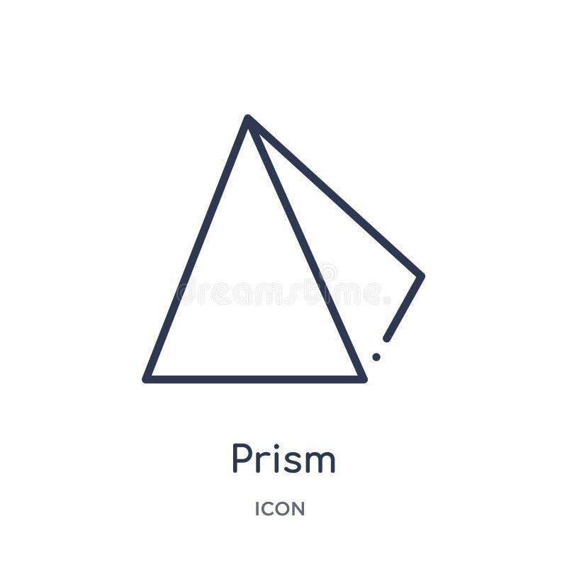 Icono linear de la prisma de la colección del esquema de la geometría Línea fina icono de la prisma aislado en el fondo blanco ej ilustración del vector