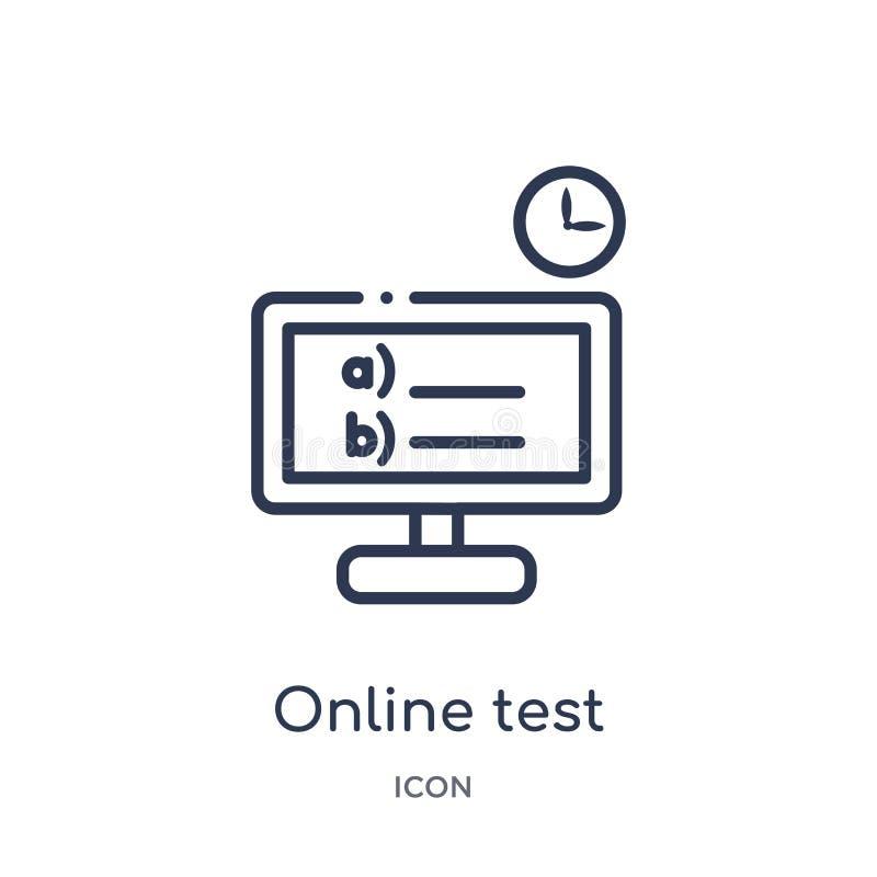 Icono linear de la prueba en línea de la colección del esquema de la educación Línea fina vector de la prueba en línea aislado en ilustración del vector