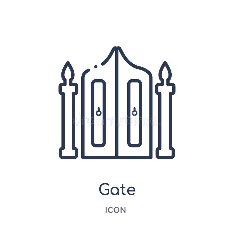 Icono linear de la puerta de la colección del esquema de los elementos de la ciudad Línea fina vector de la puerta aislado en el  libre illustration
