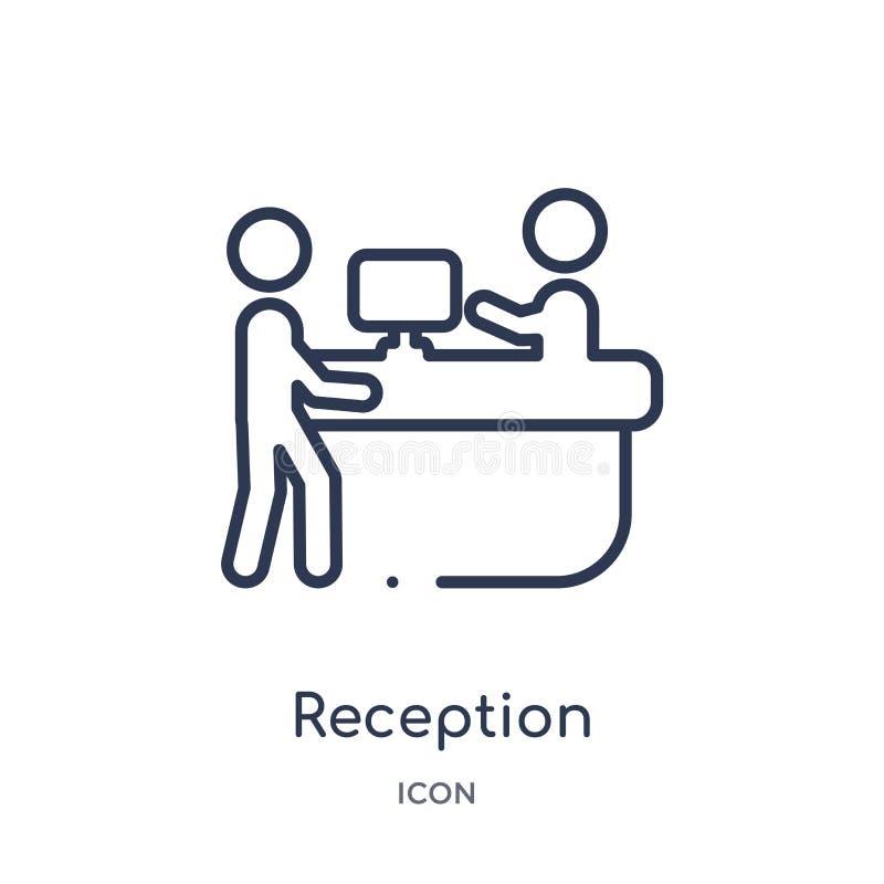 Icono linear de la recepción de la colección del esquema del hotel Línea fina icono de la recepción aislado en el fondo blanco re ilustración del vector