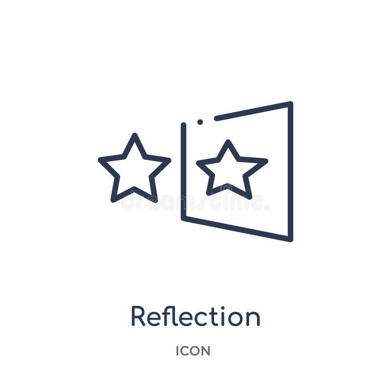 Icono linear de la reflexión de la colección del esquema de la geometría Línea fina icono de la reflexión aislado en el fondo bla stock de ilustración