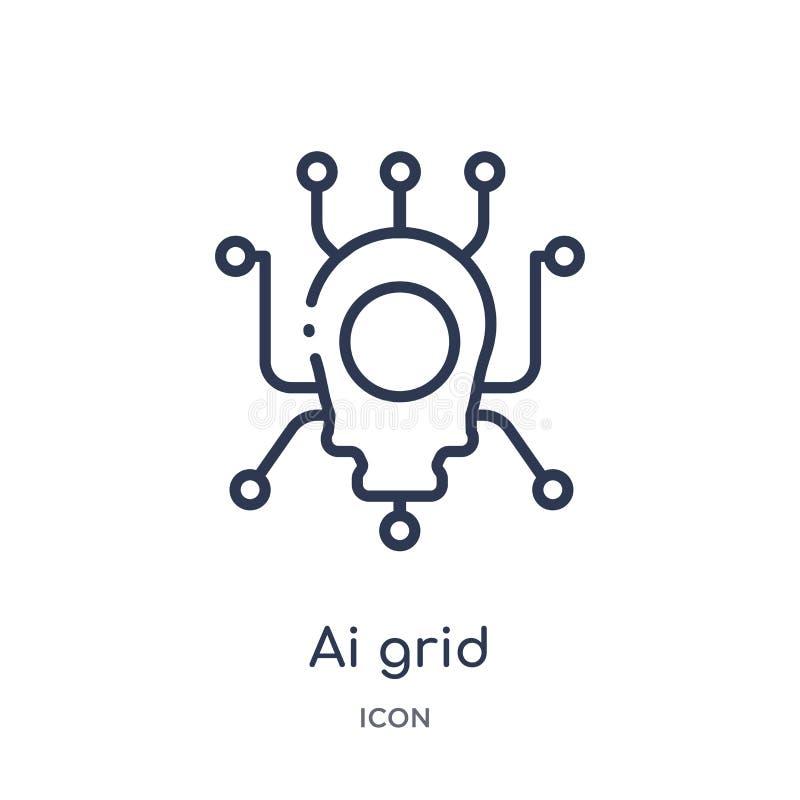 Icono linear de la rejilla del ai del intellegence artificial y de la colección futura del esquema de la tecnología Línea fina ve libre illustration