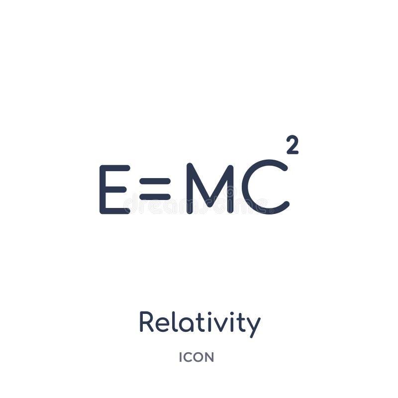 Icono linear de la relatividad de la colección del esquema de la astronomía Línea fina vector de la relatividad aislado en el fon stock de ilustración