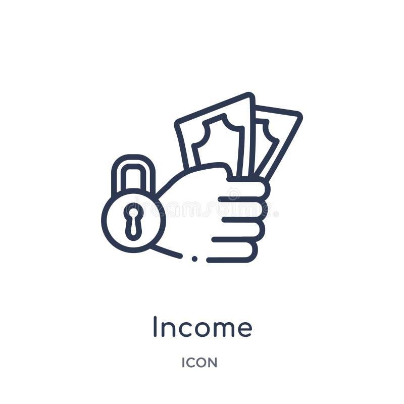 Icono linear de la renta de la colección del esquema de Gdpr Línea fina icono de la renta aislado en el fondo blanco ejemplo de m libre illustration