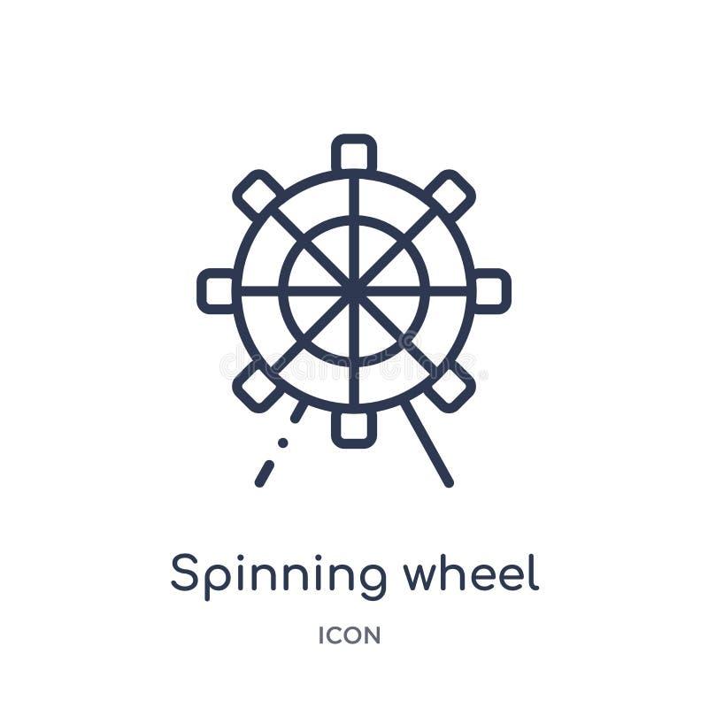 Icono linear de la rueda de hilado de la colección del esquema del entretenimiento Línea fina icono de la rueda de hilado aislado ilustración del vector