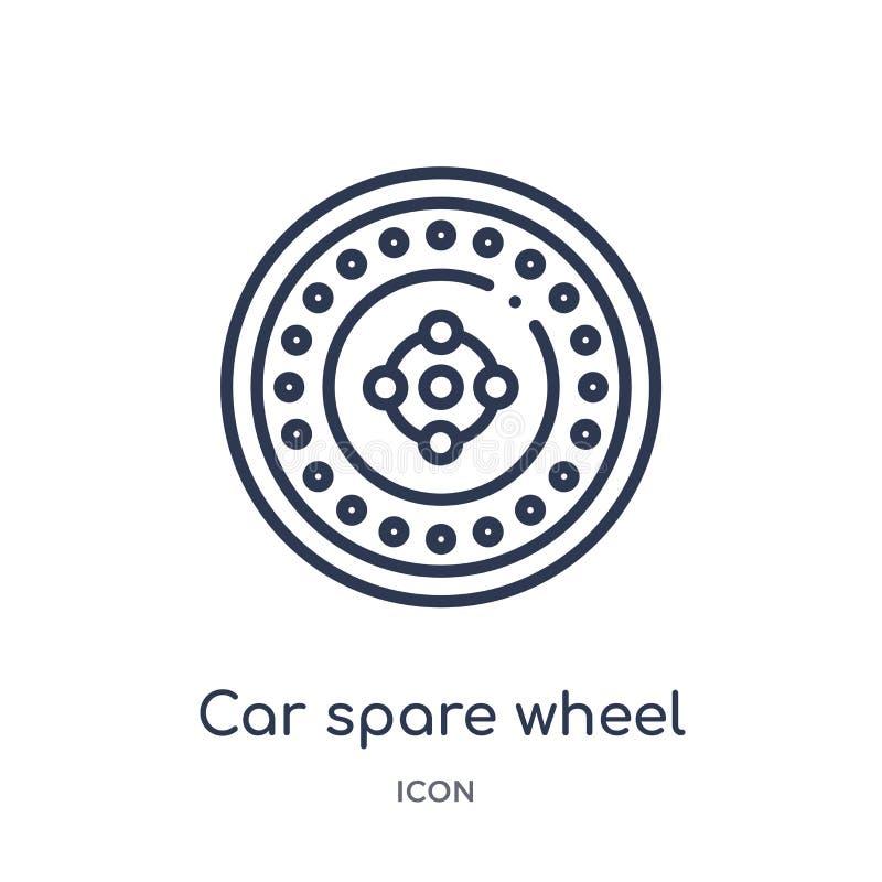 Icono linear de la rueda de repuesto del coche de la colección del esquema de las piezas del coche Línea fina vector de la rueda  stock de ilustración