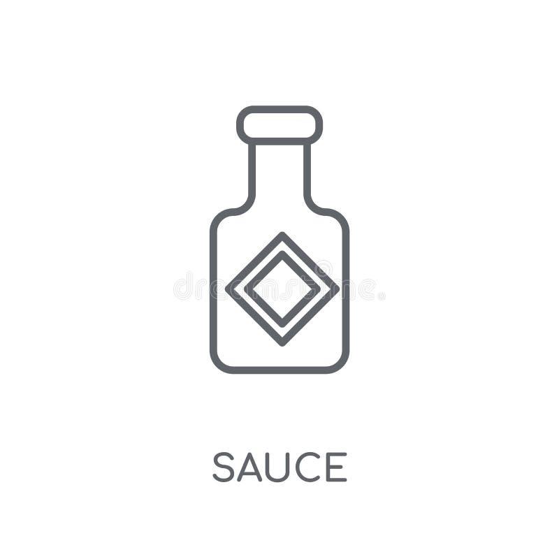 Icono linear de la salsa Concepto moderno del logotipo de la salsa del esquema en los vagos blancos ilustración del vector
