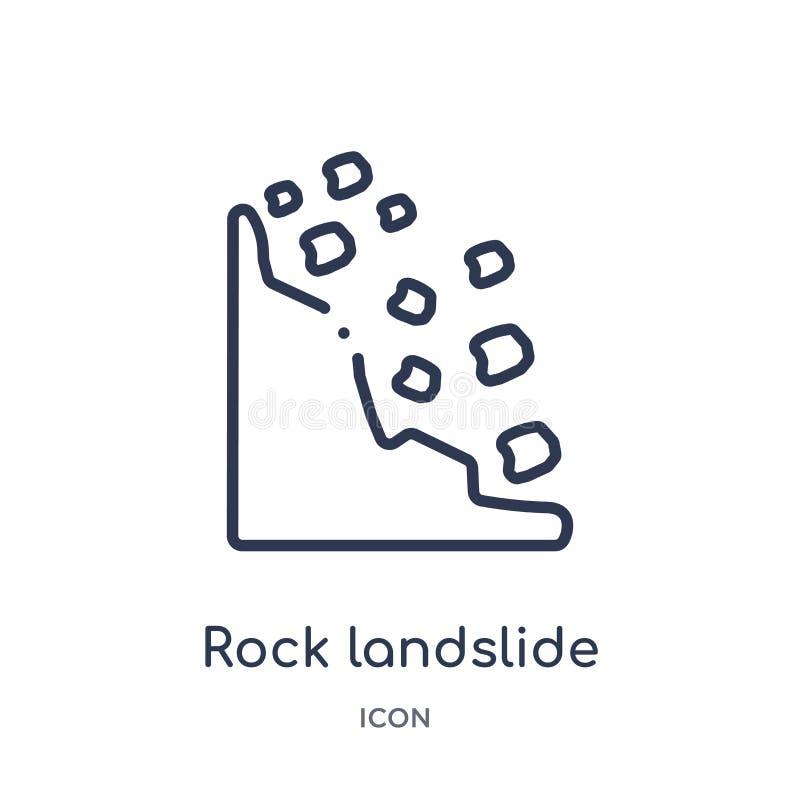 Icono linear de la seguridad del derrumbamiento de la roca colección del esquema de los mapas y de las banderas Línea fina icono  libre illustration