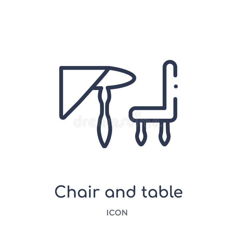 Icono linear de la silla y de la tabla de la colección del esquema de los elementos de la ciudad Línea fina silla y vector de la  stock de ilustración