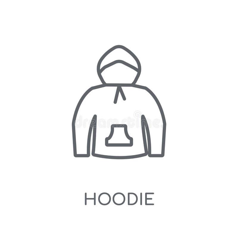 Icono linear de la sudadera con capucha Concepto moderno del logotipo de la sudadera con capucha del esquema en blanco ilustración del vector