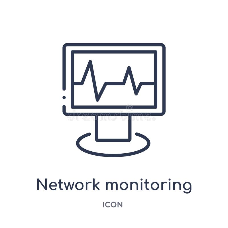 Icono linear de la supervisión de la red de la seguridad de Internet y de la colección del esquema del establecimiento de una red stock de ilustración