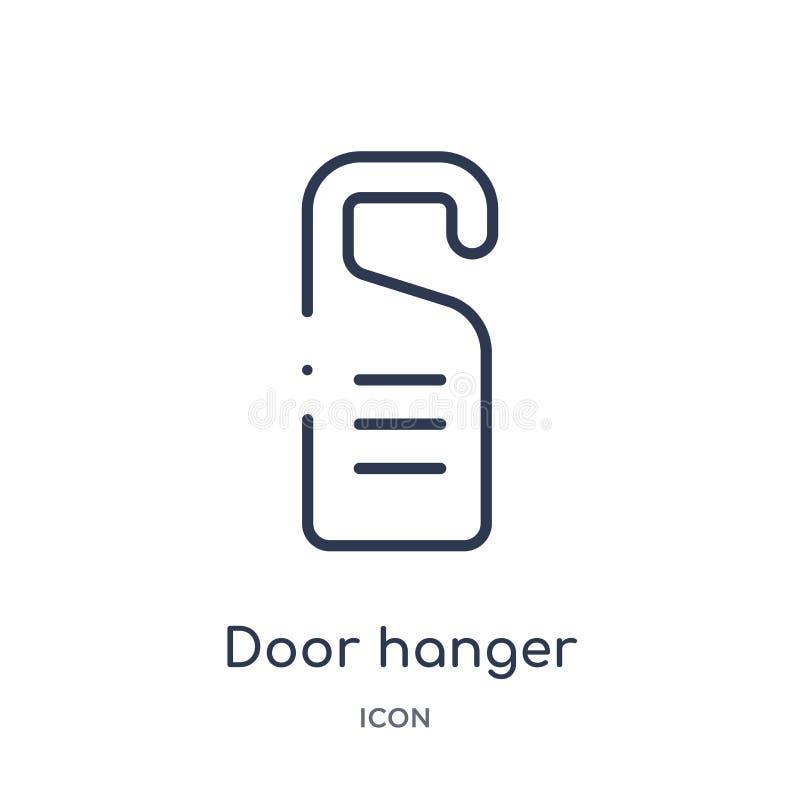Icono linear de la suspensión de puerta de la colección del esquema del hotel y del restaurante Línea fina icono de la suspensión ilustración del vector