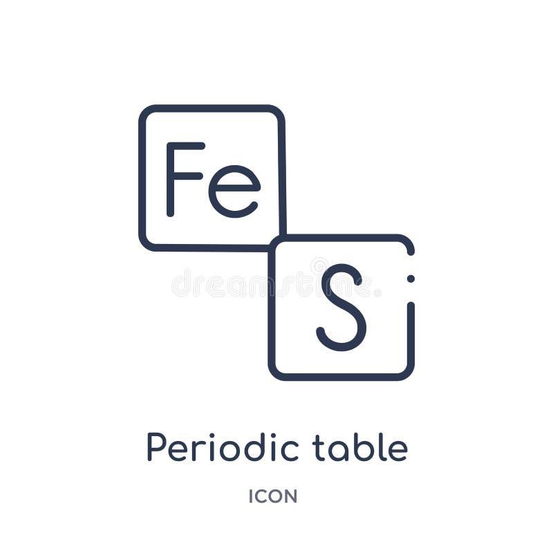 Icono linear de la tabla periódica de la colección del esquema de la educación Línea fina vector de la tabla periódica aislado en libre illustration